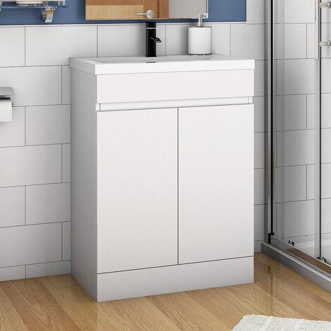 500mm Floor Standing Bathroom Vanity Unit with Ceramic Basin-Doors,Matte White