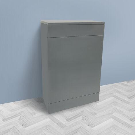 500mm Gloss Grey Back To Wall Toilet Cistern Unit Bathroom Furniture