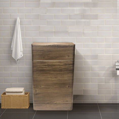 500mm Grey Oak Effect Back To Wall Bathroom Toilet Unit Concealed Cistern Furniture