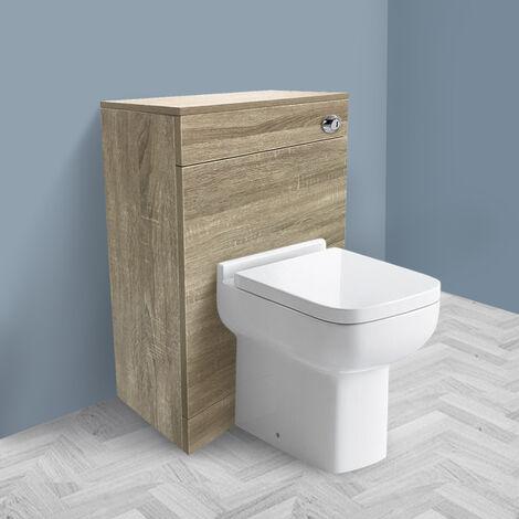 500mm Grey Oak Effect Back To Wall Toilet Cistern Unit Bathroom Furniture