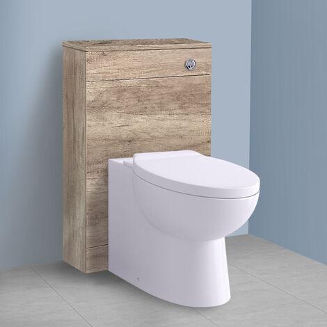 500mm Light Oak Effect Back To Wall Toilet Cistern Unit Bathroom Furniture