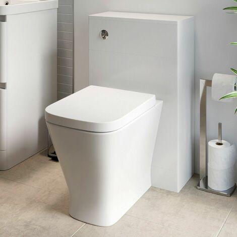 500mm Modern Bathroom Toilet Unit Concealed Cistern BTW Soft Close Seat White