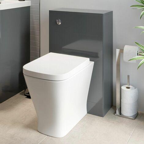 500mm Modern Bathroom WC Toilet Unit Concealed Cistern BTW Soft Close Seat Grey