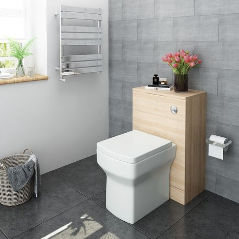 500mm Oak Bathroom Furniture WC Unit Back to Wall Toilet with Cistern