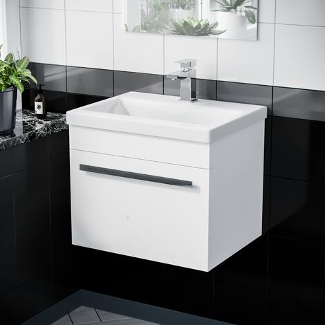 500mm Wall Hung 1 Drawer Vanity Unit Cabinet with Ceramic Sink Basin Gloss White