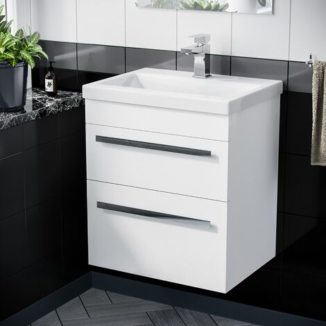 500mm Wall Hung 2 Drawer Vanity Unit Cabinet with Ceramic Sink Basin Gloss White