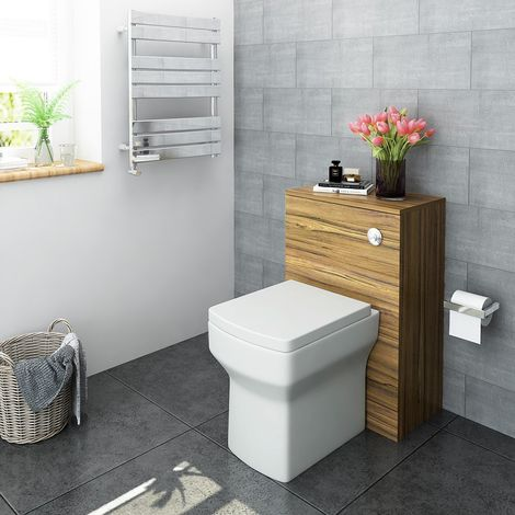 500mm Walnut Bathroom Furniture Back to Wall Toilet WC Vanity Cabinet Unit with Cistern