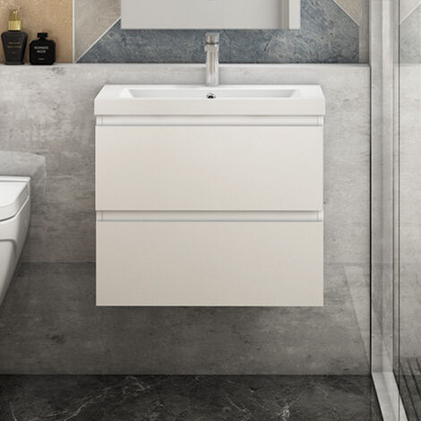 """main image of """"Wall Hung Bathroom Vanity Unit Sink with Drawers 500 600 800mm White Grey Oak"""""""