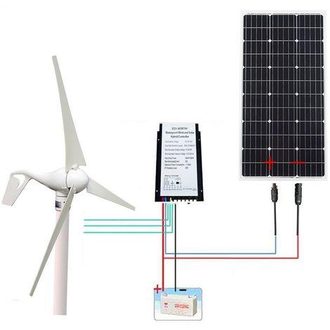 500W 12V Hybrid Kit: 400W Wind Turbine Generator 100W Solar Panel 20A Controller