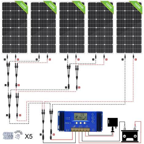 500W OFF GRID Solar SYSTEM 5x 100W Mono Solar panel high power W/ 60A Controller