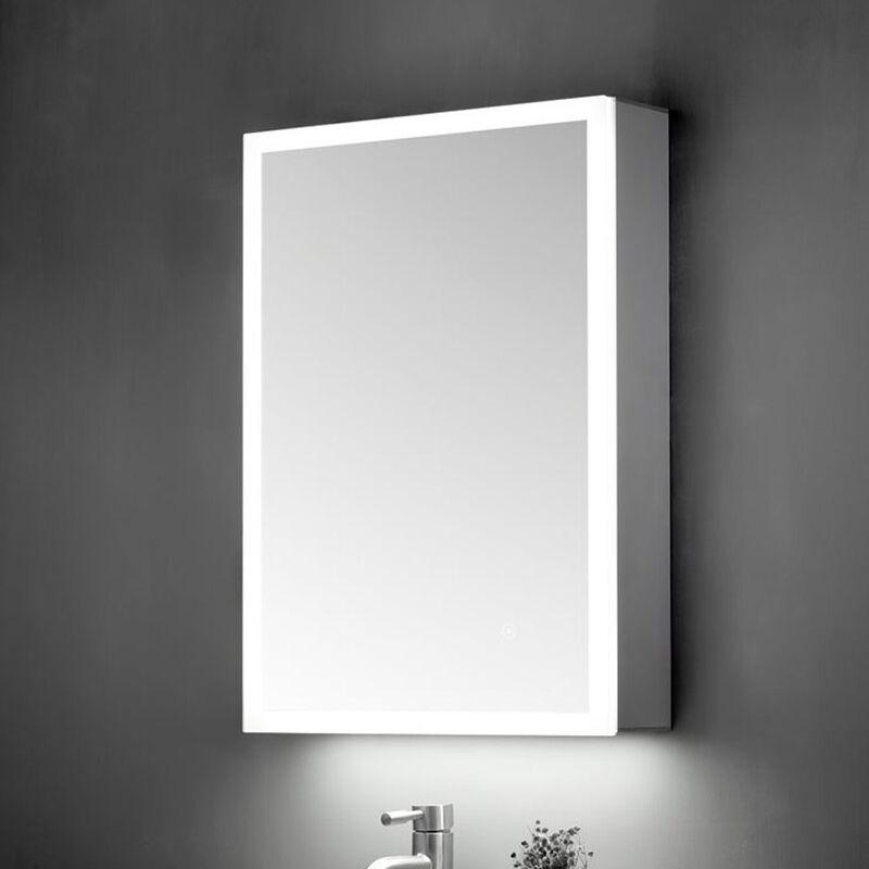 Image of 500x700 SINGLE DOOR MIRROR CABINET LED SURROUND W. SENSOR SWITCH & SHAVE SOCKET