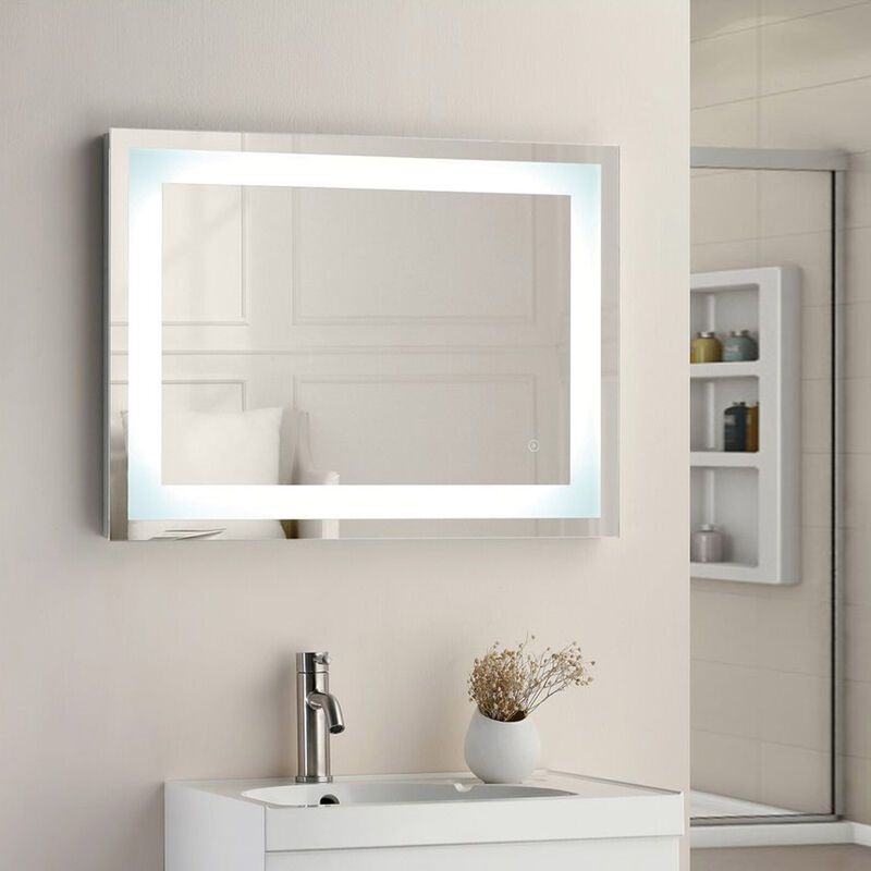 Image of 500x700 SQUARE STRIP LED TOUCH MIRROR W. DEMIST