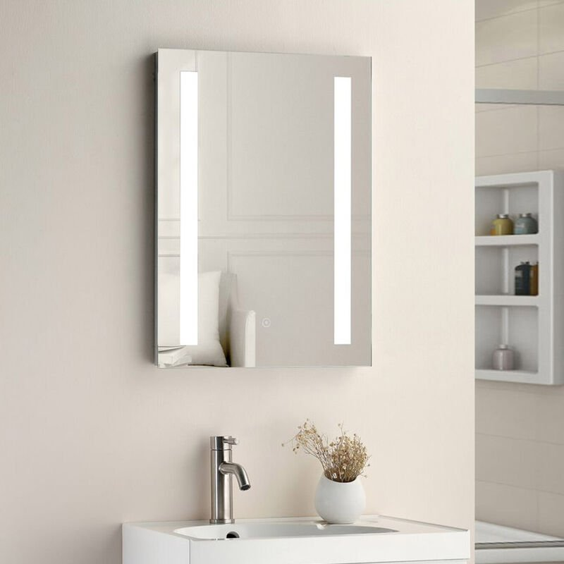 Image of 500x700 TWIN VERTICAL STRIP LED TOUCH MIRROR W. DEMIST & SHAVER POINT