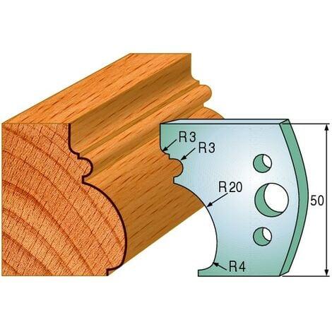 501 : Jeu de fers moulure ( 50 x 4 mm ) pour porte outils toupie