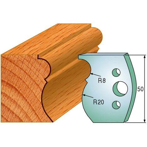 502 : Jeu de fers moulure ( 50 x 4 mm ) porte outils toupie