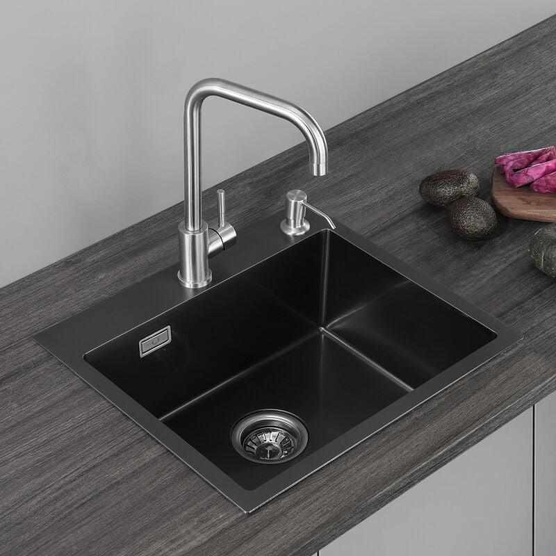 CECIPA Top 50*43*18.5CM Évier de Cuisine à 1 Bac en Acier Inox Évier 1 Cuve avec Siphon et Trop-Plein Design Unique