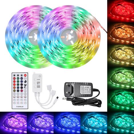 5050RGB, 10 metros con 300 Luces de la correa Luz impermeable IP65 epoxi con mando a distancia, conexion Bluetooth, Control App