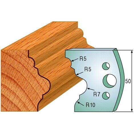 508 : Jeu de fers moulure baguette ( 50 x 4 mm ) porte outils toupie