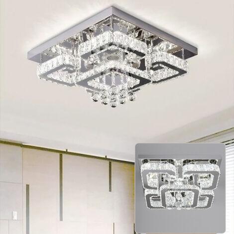 50CM Square LED Crystal Chandelier Pendant Ceiling Light, Cool White