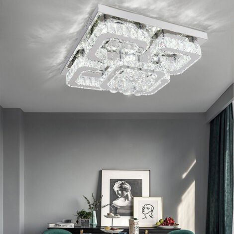 50CM Square LED Crystal Chandelier Pendant Ceiling Light, Dimmable