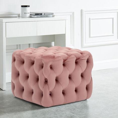 50CM Square Velvet Buttoned Footstool