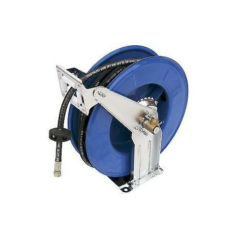 "50ft 3/8"" High Pressure Hydraulic Oil Hose Reel Lines Grease"
