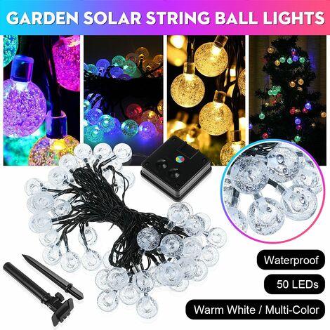 50LED Solar Power String Fairy Light Garden Outdoor Party Wedding Christmas Lamp (Warm White, 9.5M 50Balls Solar)
