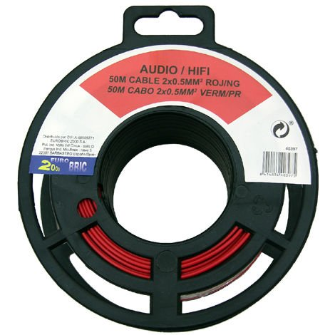 50m cable audio 2x0,50mm² rojo/negro