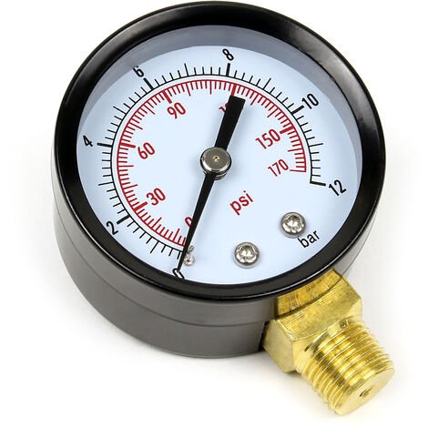 50mm Manomètre pression pour réservoir pump radial 12.9mm 0-12 bar