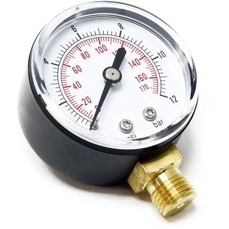 50mm Manomètre pression pour réservoir pump radial 12.9mm 0-12bar / 0-170PSI