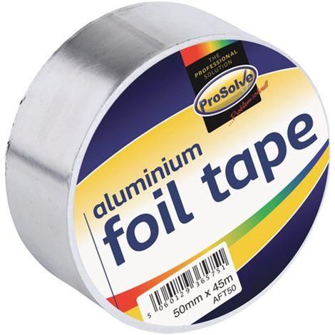 50mm x 45m Prosolve Aluminium Foil Tape Roll Heat Insulation Reflective Duct Self Adhesive