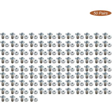 50pairs Invernadero Tamano M6 tuercas y tornillos estandar Reemplazos de aluminio almacen de piezas y accesorios Tornillos Tuercas