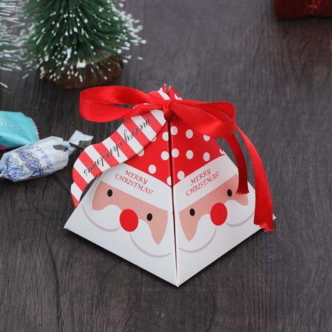 50pcs Boîtes de bonbons de Noël Boîte-cadeau colorée Cuire de petits cartons d'emballage Boîtes de bonbons décoratives Biscuits Goodies Père Noël Renne Boîte-cadeau d'arbre de Noël Emballage présent pour les vacances du festival