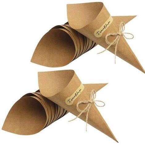 50pcs Cônes Pour Confettis De Mariage, Cônes En Papier Kraft Rétro Cônes Sacs Bouquet Bonbons Sacs De Chocolat Boîte À Cocher Cadeaux De Fête De Mariage Emballage Avec Des Cordes De Chanvre Étiquette Autocollants Ruban