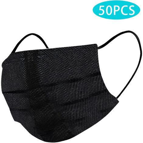50Pcs Couverture Noire Bouche A Usage Unique 3-Couche De Securite Non-Tisse Filtration Tissu Doux Visage Respirant Couverture