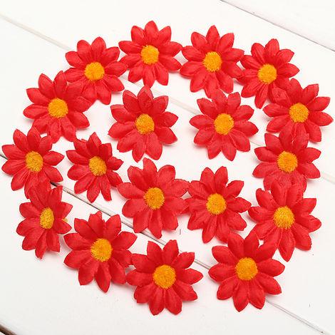 50Pcs Gerbera Artificial Daisy Silk Flowers Heads Diy Wedding Party Decoration