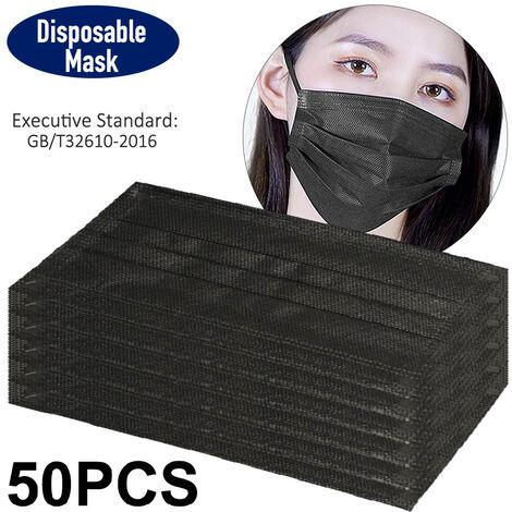 50PCS Mascarilla desechable, Mascarilla protectora de 3 capas