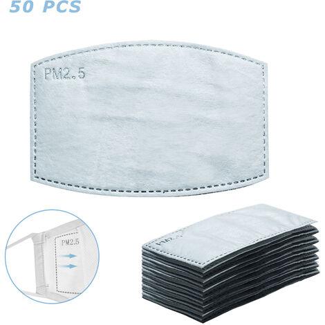 50Pcs Masque-Filtre Non-Tisse Remplacement Anti Pm 2,5 Antipoussiere De Protection 5 Couche Amovible Pads Inserts Bouche-Masque