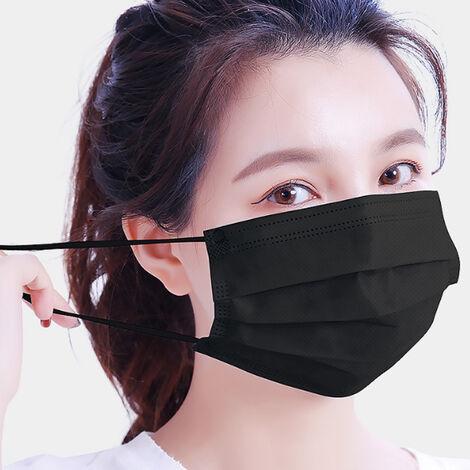50Pcs Masques Jetables Noir Non-Tisse Masques Tissu Meltblown 4 Couches Visage Bouche Masque Anti-Poussieres Respirables Masque De Mise A Niveau Version