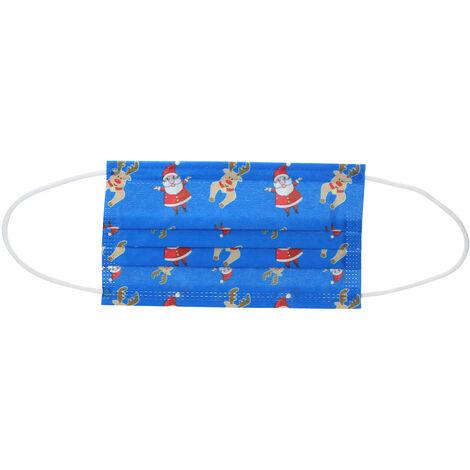 50PCS Navidad Mascarilla desechable boca cara mascara mascaras No Tejidos de 3 capas anti-polvo mascara transpirable para hombres de las mujeres Regalo de navidad, azul oscuro