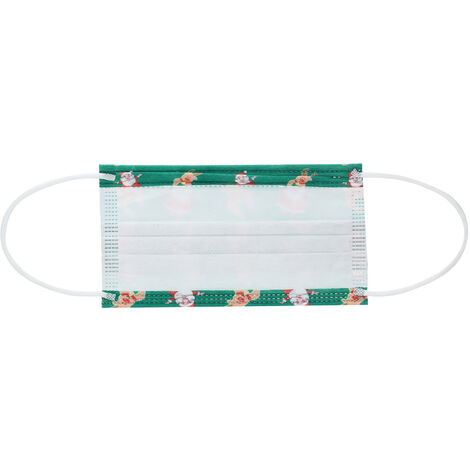50PCS Navidad Mascarilla desechable boca cara mascara mascaras No Tejidos de 3 capas de mascara anti-polvo respirable para los hombres de las mujeres Regalo de navidad, verde