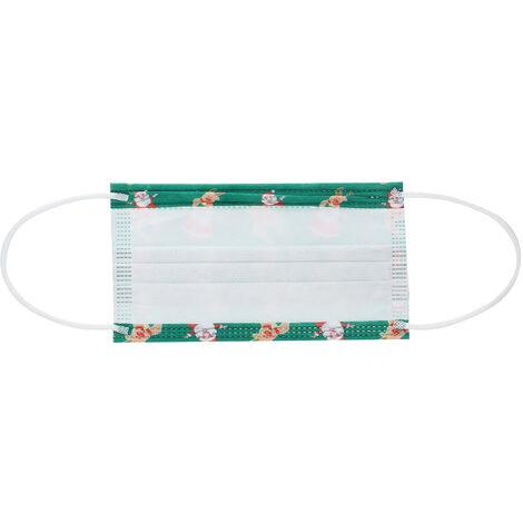 50Pcs Noel Masque Masque Bouche A Usage Unique Visage Masques Non Tisse 3-Couche Anti-Poussieres Respirables Masque, Vert