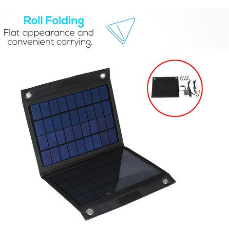 50W 18V Panneau Solaire Pliable Double Sortie USB avec chargeur Voiture pour Huawei/iPhone/Samsung