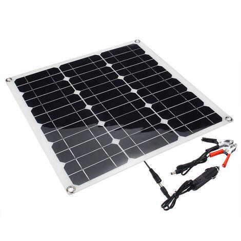 50W 24V Panneau Solaire Photovoltaique USB Noir Monocristallin batterie régulate