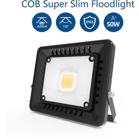 50W 4500LM Super Slim LED Floodlight IP65 Waterproof Outdoor Lighting Warm White Security Light