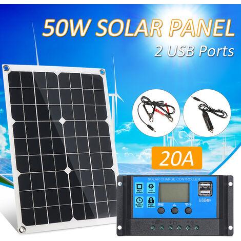 50W DC 5V / 18V Panel solar de doble salida con 2 puertos USB y carga para automovil IP65 Resistencia al agua 12V / 24V Controlador de carga solar Regulador inteligente PWM
