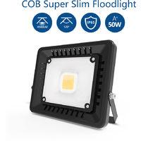 50W Foco LED Exterior Ultra-Delgado, 3000K Impermeable Proyector LED Exterior, Equivalente Incandescente 250W (IP65, Blanco Cálido)