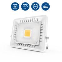 50W Foco LED Exterior Ultra-Delgado, 3000K Impermeable Proyector LED Exterior (IP65, Blanco Cálido, Concha Gris)