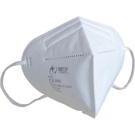 50x FFP2 NR Masque de protection respiratoire Masque buccal filtrant les particules avec plus de 94% d'efficacité de filtration des particules - 5 couches, respirable, pince nasale réglable, boucles d'oreilles élastiques