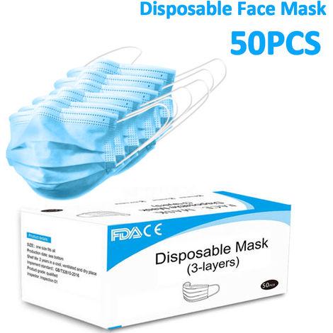 50x Mascarilla médica quirúrgica desechable FDA CE Máscara de respiración facial Sasicare